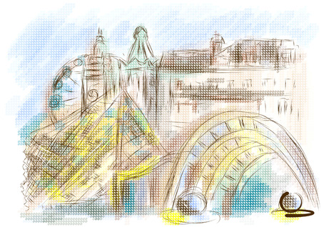 sheffield. abstract illustration of city on multicolor background Illustration