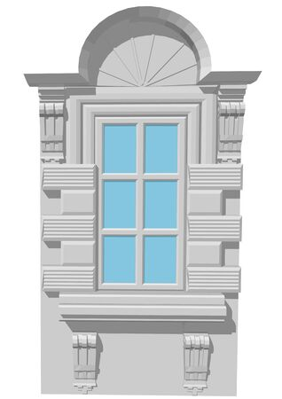 Window with an arch on white background