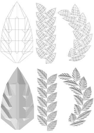 Carved leaf illustration.