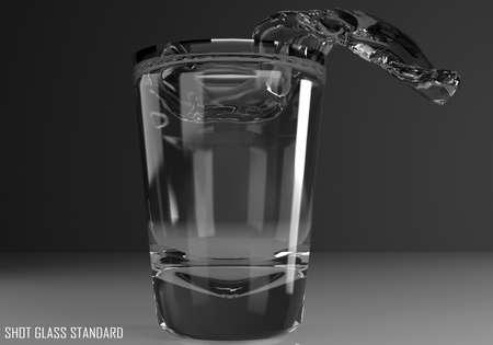 shot glass standard 3D illustration on dark background Stock Photo