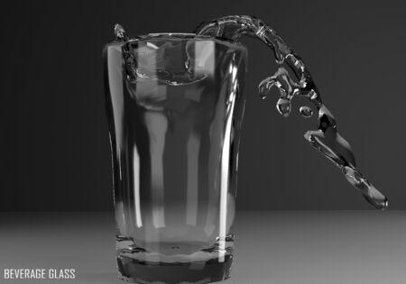 beverage glass tumbler 3D illustration on dark background