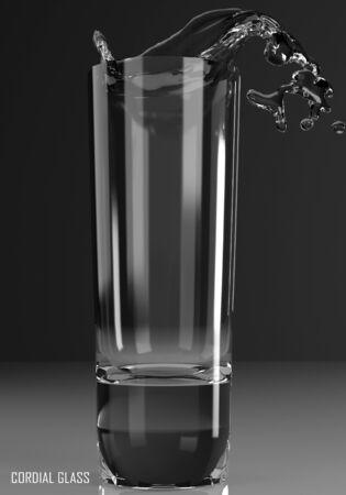 cordial glass 3D illustration on dark background Stock Photo