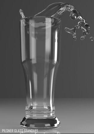 pilsner glass standart 3D illustration on dark background Stock Photo