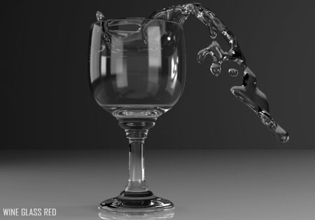 wine glass red 3D illustration on dark background Stock Photo
