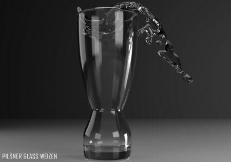 pilsner glass weizen 3D illustration on dark background