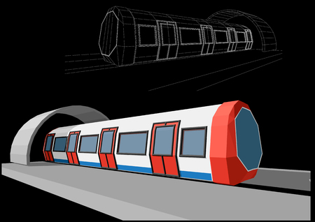 electric train: Abstract low-polygonal metro train on black background Illustration