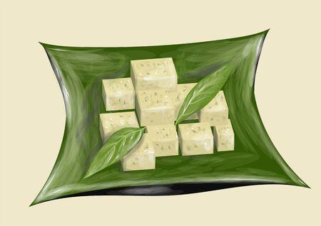 tofu qabstract illustration on green background