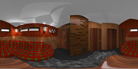 hdri room interior with tartan and brick stove 3d illustration Stock Photo