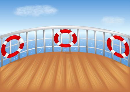 Cubierta de barco de crucero y mar azul vector ilustración