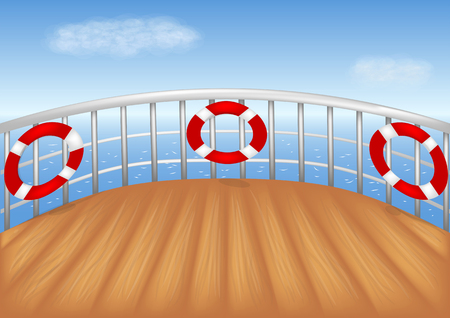 cruise ship deck and blue sea vector illustration