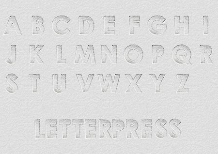 Letterpress. alphabet on abstract background. Vettoriali