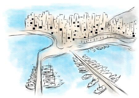 モナコ。多色の背景上の都市の抽象的なイラスト  イラスト・ベクター素材