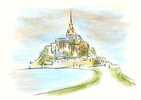 mont saint michel abstract illustration on multicolor background Vettoriali