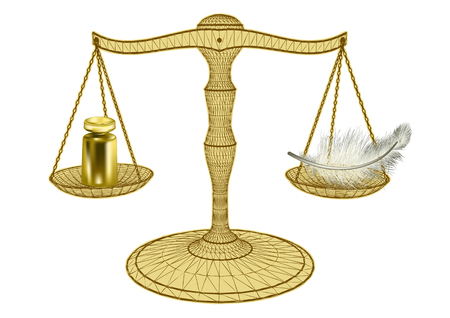 Scales of justice isolated on a white background Imagens - 90223345