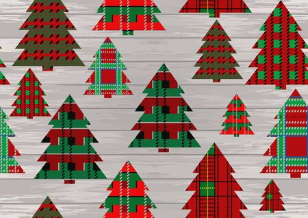 Christmas tartan texture background with christmas tree