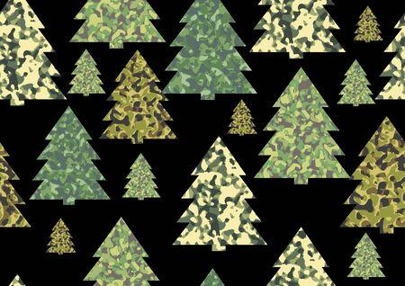 クリスマス迷彩模様の背景にクリスマス ツリー  イラスト・ベクター素材
