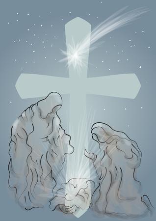 Nativity symbolic scene with Mary and Joseph