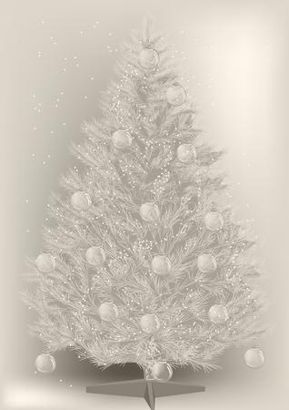 ヴィンテージクリスマスツリーi雪と装飾