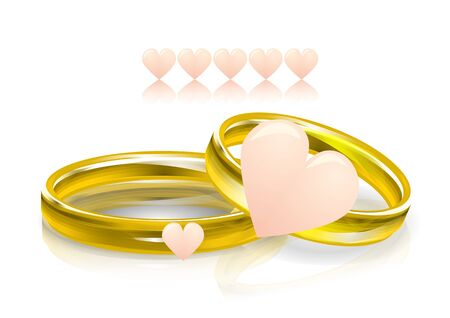 Wedding rings with pink hearts illustration. Illustration