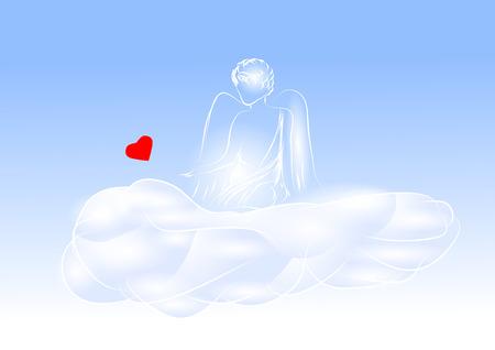 Querubín con un corazón en el cielo azul Foto de archivo - 91013596