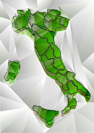 イタリアの緑三角マップ  イラスト・ベクター素材