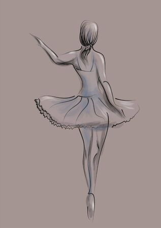 Abstract illustration of ballet dancer on stage