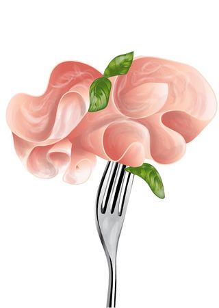 구운 된 햄과 포크 흰색 배경에 고립