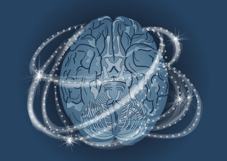 human brain activity. abstract brain with white light Illustration