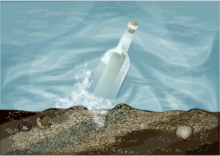 trasparent fles in water met een notitie Stock Illustratie