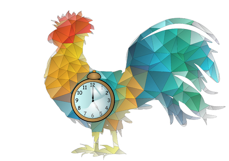 Abstract Cock With Alarm Clock Isolated On White