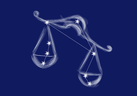 libra sign. abstract zodiac sign on blue background