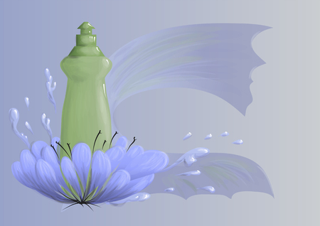 Cleaning products. Abstract bottles of detergent, vector illustration.