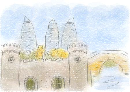 Baku abstract illustration of city on multicolor illustration.