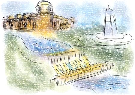 Bandundu bstract Illustration der Stadt auf mehrfarbiger Illustration. Standard-Bild - 91994884