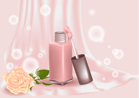 Nail polish and rose flowere on abstract background Illustration