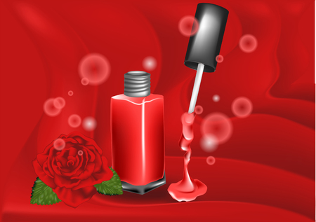 Nail polish and rose on abstract background