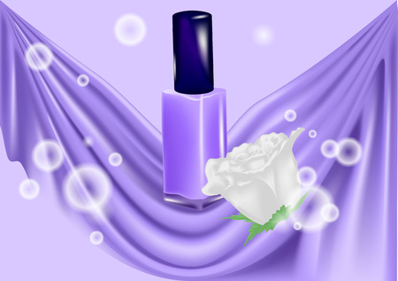 Nail polish and white rose on abstract background Illustration