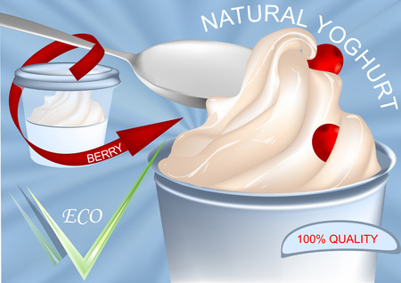 Frozen yogurt with berry and package on blue background. Illustration