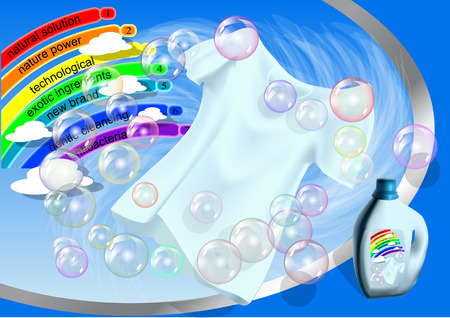 Clothes and water washing product. Illustration