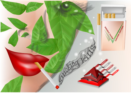 Anti-tobacco advertising. woman with cigarette and tobacco leaves.