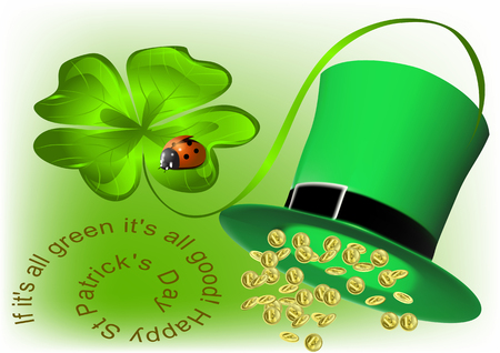 Good luck and Happy St Patrick's Day. background with clover and ladybug