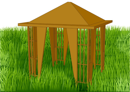 Gazebo in the garden isolated on white background.