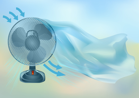 Electric fan on multicolor abstract background.