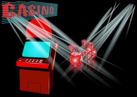 slot machine in casino on black backgroun with light Иллюстрация