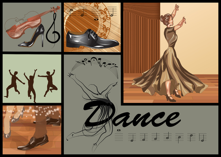 set for dance with people, music and notes