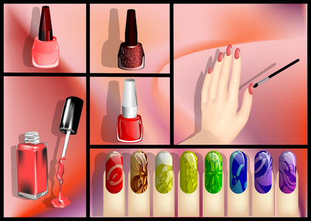 nail polish set with human hand and brushes