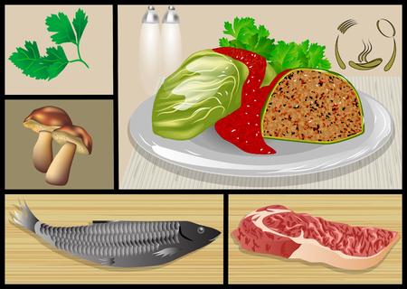 vis- en vleesgerechten. set van restaurant eten