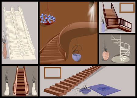 stairs and vases set. escalator and stairs with decor Ilustração