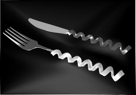 original and creative cutlery on dark table Çizim