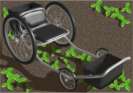 garden seat with wheels and vegetable plants Vector illustration.